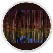 Psychedelic Swamp Trees Round Beach Towel