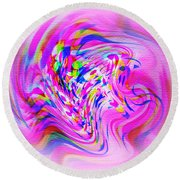 Psychedelic Swirls On Lollypop Pink Round Beach Towel