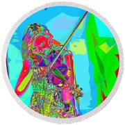 Psychedelic Violinist Round Beach Towel