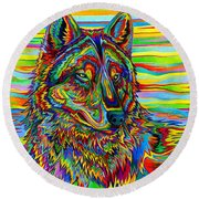 Psychedelic Wolf Round Beach Towel