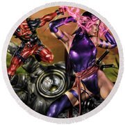 Psylocke And Deadpool Round Beach Towel by Pete Tapang