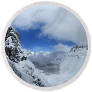 Ptarmigan Pass Tunnel North - Glacier National Park Round Beach Towel