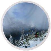 Ptarmigan Trail Overlooking Elizabeth Lake 2 - Glacier National Park Round Beach Towel