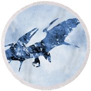 Pterodactyl-blue Round Beach Towel