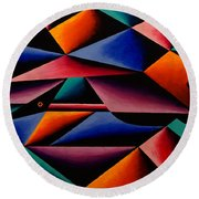 Pterodactyl Cubed Round Beach Towel