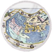 Ptolemaic World Map, 1493 Round Beach Towel