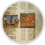 Ptolemy: Almagest, 1490 Round Beach Towel