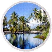 Pu Uhonua O Honaunau Pond Round Beach Towel