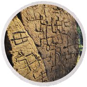 Puako Petroglyphs Round Beach Towel