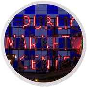 Public Market Checkerboard Round Beach Towel