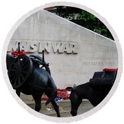 Public Memorial Honoring Military Animals In War London England Round Beach Towel