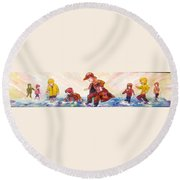 Puddle Jumpers Round Beach Towel