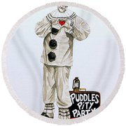 Puddles Loves Round Beach Towel