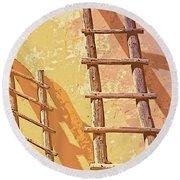 Pueblo Ladders Round Beach Towel