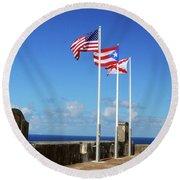 Puerto Rican Flags Round Beach Towel