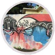 Puerto Rican Graffiti Round Beach Towel