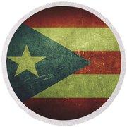 Puerto Rico Distressed Flag Dehner Round Beach Towel