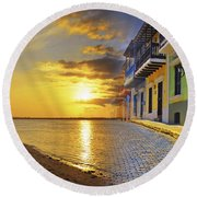 Puerto Rico Montage 1 Round Beach Towel by Stephen Anderson
