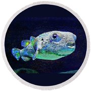 Puffer Fish Round Beach Towel