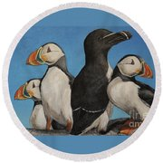 Puffin Palooza 2 Round Beach Towel