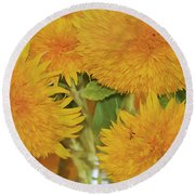 Puffy Golden Delight Round Beach Towel