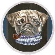 Pug Monacle Scarf Pipe Dogs In Clothes Round Beach Towel