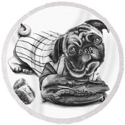 Pug Ruth  Round Beach Towel by Peter Piatt
