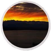 Puget Sound Olympic Mountains Sunset Round Beach Towel