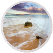 Pulled To The Sea Round Beach Towel by Mike  Dawson