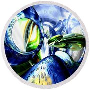 Pulse Of Life Abstract Round Beach Towel