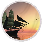 Pulse Of Life Round Beach Towel by Corey Ford
