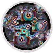 Pulse Of The Motherboard Round Beach Towel