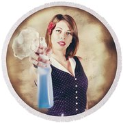 Pump Action Pin Up Woman Killing Glass Grime Round Beach Towel
