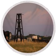 Pump Jack Golden Hour Round Beach Towel