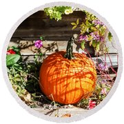 Pumpkin And Flowers Round Beach Towel