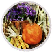 Pumpkin Corn And Asters Round Beach Towel