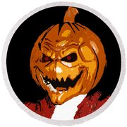 Pumpkin Head Round Beach Towel