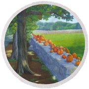 Pumpkin Muster Round Beach Towel