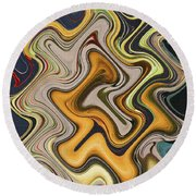 Pumpkin On Fence Abstract # 6822 Wwt Round Beach Towel