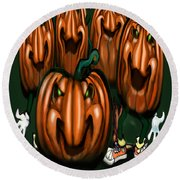 Pumpkin Party Round Beach Towel