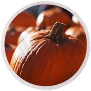 Pumpkin Patch Farm Round Beach Towel