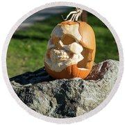 Pumpkin Skull Round Beach Towel