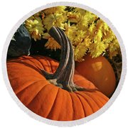Pumpkin Still Life  Round Beach Towel