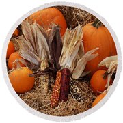 Pumpkins And Corn Round Beach Towel