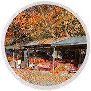 Pumpkins For Sale Round Beach Towel
