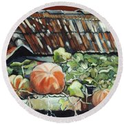 Pumpkins On Roof Round Beach Towel