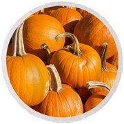 Pumpkins Pile 1 Round Beach Towel