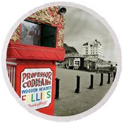 Punch And Judy Theatre On Llandudno Promenade Round Beach Towel