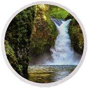 Punch Bowl Falls, Oregon Round Beach Towel