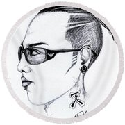 Punk Imaginative Portrait Drawing  Round Beach Towel